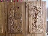Carved panels made of chestnut wood, bas-reliefs 'Cilento senza parole' (Cilento without words) and 'Tralcio di vite' (Vine shoot)