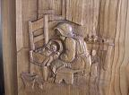 Detail of 'Ninna nanna contadina' (Peasant lullaby) - Bas-relief on a panel of chestnut wood