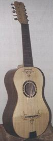 Chitarra battente decorate with pyrography