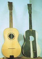 On the right a 'chitarra battente cilentana' - model De Luccia (early '900). On the left, replica of the same guitar