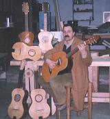 Domenico Campitiello in the workshop with his guitars