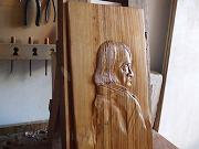 'Bas-relief of Samuel Hahnemann' made of chestnut wood (sold)