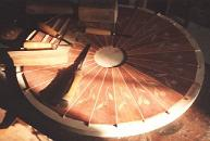 Round table with marquetry in progress