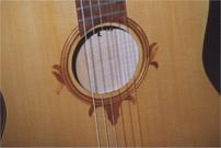 Detail soundhole of a classical guitar